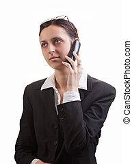 mulher negócio, com, um, telefone