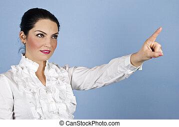 mulher negócio, copyspace, apontar cima