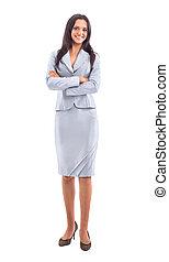 mulher negócio, corpo cheio, ficar, isolado, branco, fundo