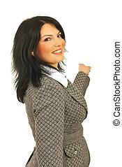 mulher negócio, costas, apontar, feliz