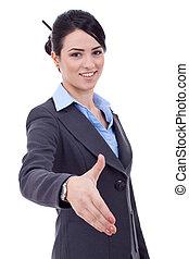 mulher negócio, dar, mão, para, aperto mão