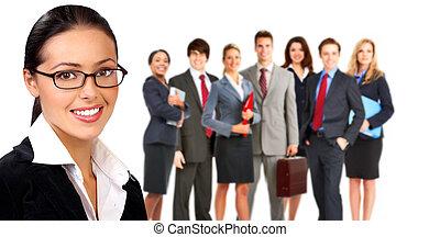 mulher negócio, e, grupo, de, pessoas.