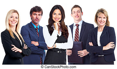 mulher negócio, e, grupo, de, trabalhadores, pessoas.