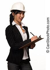 mulher negócio, em, chapéu duro