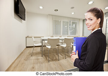 mulher negócio, em, escritório