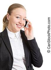 mulher negócio, falar telefone pilha