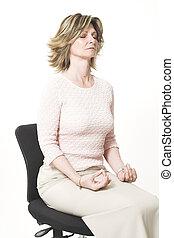 mulher negócio, fazendo, relaxamento