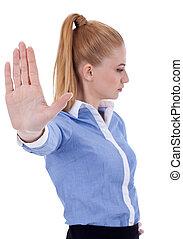 mulher negócio, fazer, sinal parada