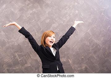 mulher negócio, feliz