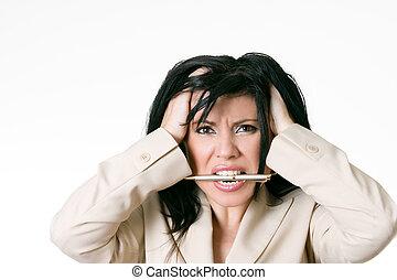 mulher negócio, frustrado