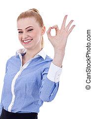 mulher negócio, indicar, tá bom sinal