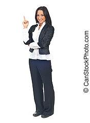 mulher negócio, jovem, apontar cima