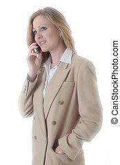 mulher negócio, ligado, telefone pilha