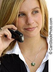 mulher negócio, ligado, um, telefone pilha