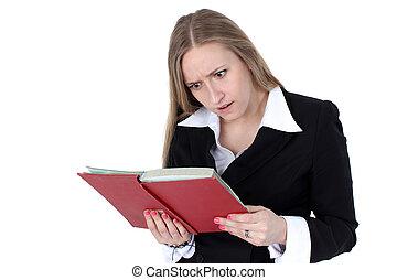 mulher negócio, livro leitura