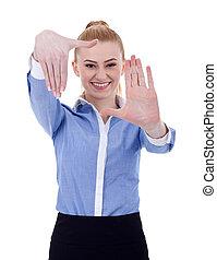 mulher negócio, mostrando, formule, gesto mão