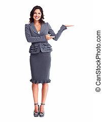 mulher negócio, mostrando, um, copyspace.