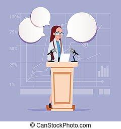 mulher negócio, orador, candidato, público, fala, reunião conferência, seminário negócio