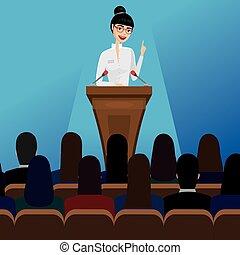 mulher negócio, orador público, ligado, conferência