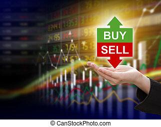 mulher negócio, passe segurar, compra, ou, venda, ligado, mercado conservado estoque, fundo