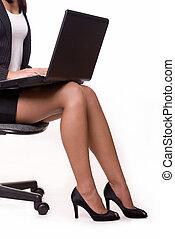 mulher negócio, pernas