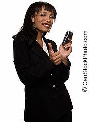 mulher negócio, prendendo telefone pilha