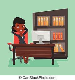 mulher negócio, relaxante, em, escritório.