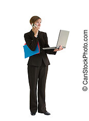 mulher negócio, série, -, projete manejo