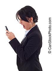 mulher negócio, shouting, para, um, móvel