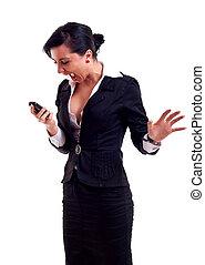 mulher negócio, shouting, para, um, telefone
