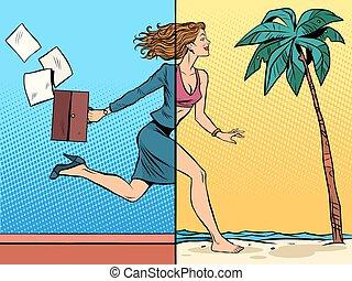 mulher negócio, sonhar aproximadamente, férias, mar