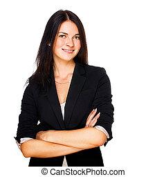 mulher negócio, sorrindo, sobre, fundo branco
