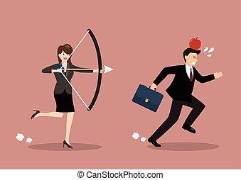 mulher negócio, tentar, disparar, em, maçã, ligado, colega, cabeça