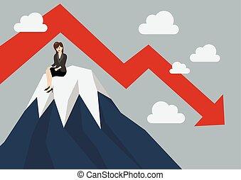 mulher negócio, topo colina, aderido