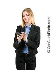 mulher negócio, trabalhando, com, a, telefone