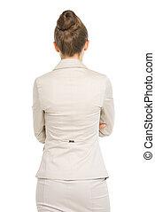 mulher negócio, ., vista traseira