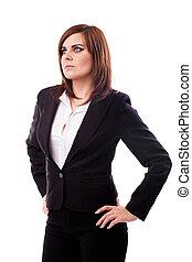 mulher negócios fica, com, mãos quadrils