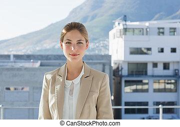 mulher negócios fica, em, dela, offic