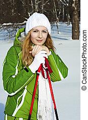 mulher, nevado, polos, floresta, esqui, esquiador