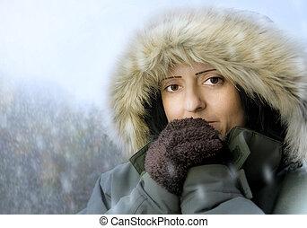 mulher, neve, ao ar livre
