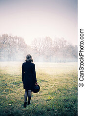 mulher, nevoeiro