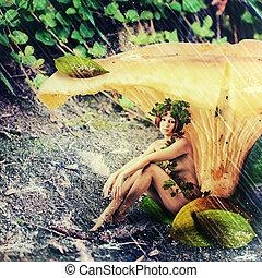 mulher, ninfa, chuva, fantasia, floresta, land.