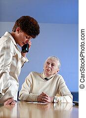 mulher, nomeação, dof, foco raso, idoso, lady., worker., social