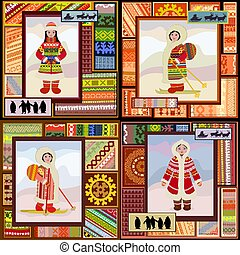 mulher, norte, padrão, cobrança, desenho, étnico, seu