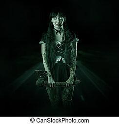 mulher, noturna, estrada, fantasma, assustador