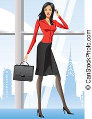 mulher nova, escritório, negócio, yor