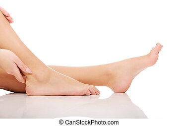mulher, nu, feet.