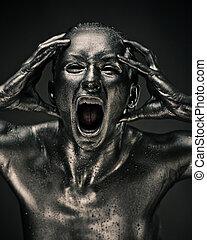 mulher nua, semelhante, estátua, em, líquido, metal