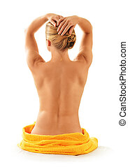 mulher nua, toalha, isolado, branca
