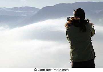 mulher, nuvens, fotografar, acima